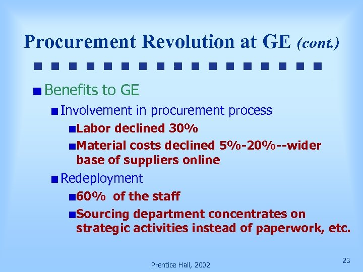 Procurement Revolution at GE (cont. ) Benefits to GE Involvement in procurement process Labor