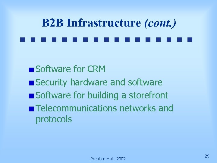 B 2 B Infrastructure (cont. ) Software for CRM Security hardware and software Software