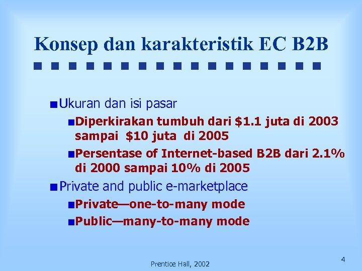 Konsep dan karakteristik EC B 2 B Ukuran dan isi pasar Diperkirakan tumbuh dari