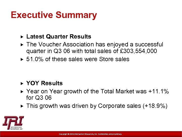 Executive Summary Latest Quarter Results The Voucher Association has enjoyed a successful quarter in