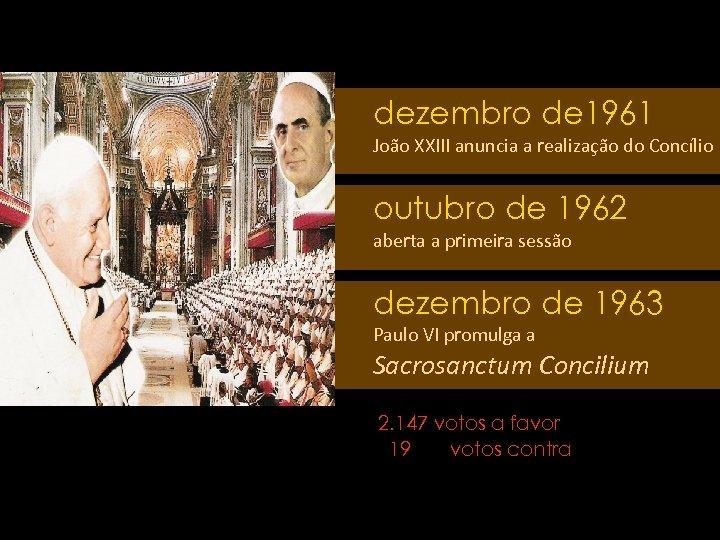 dezembro de 1961 João XXIII anuncia a realização do Concílio outubro de 1962 aberta