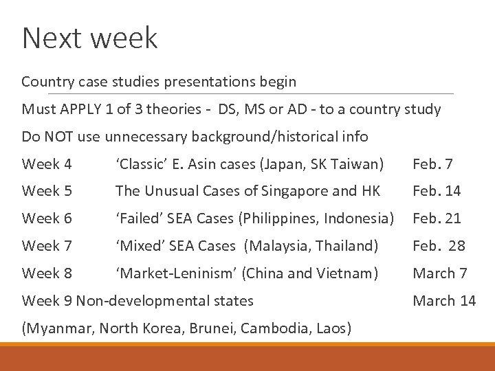 Next week Country case studies presentations begin Must APPLY 1 of 3 theories -