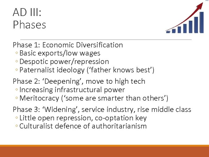 AD III: Phases Phase 1: Economic Diversification ◦ Basic exports/low wages ◦ Despotic power/repression