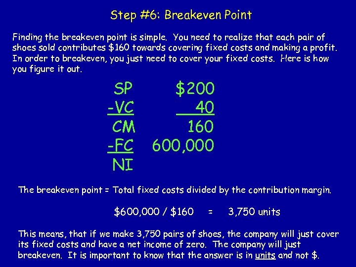 Step #6: Breakeven Point Finding the breakeven point is simple. You need to realize