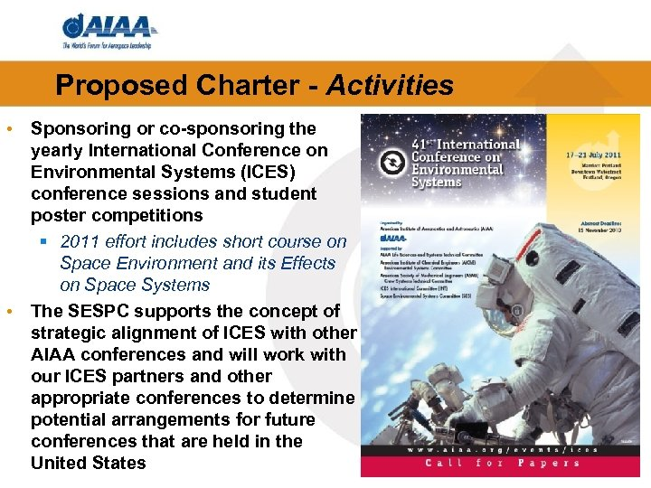Proposed Charter - Activities • Sponsoring or co-sponsoring the yearly International Conference on Environmental