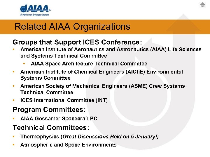 Related AIAA Organizations Groups that Support ICES Conference: • • American Institute of Aeronautics