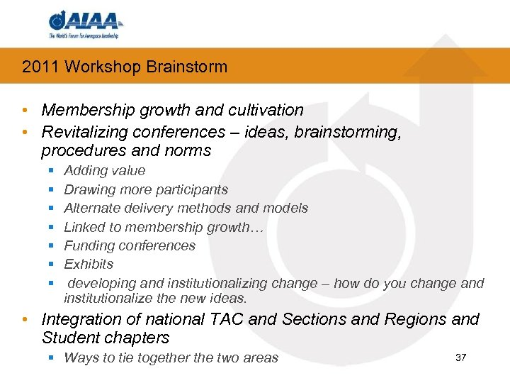 2011 Workshop Brainstorm • Membership growth and cultivation • Revitalizing conferences – ideas, brainstorming,