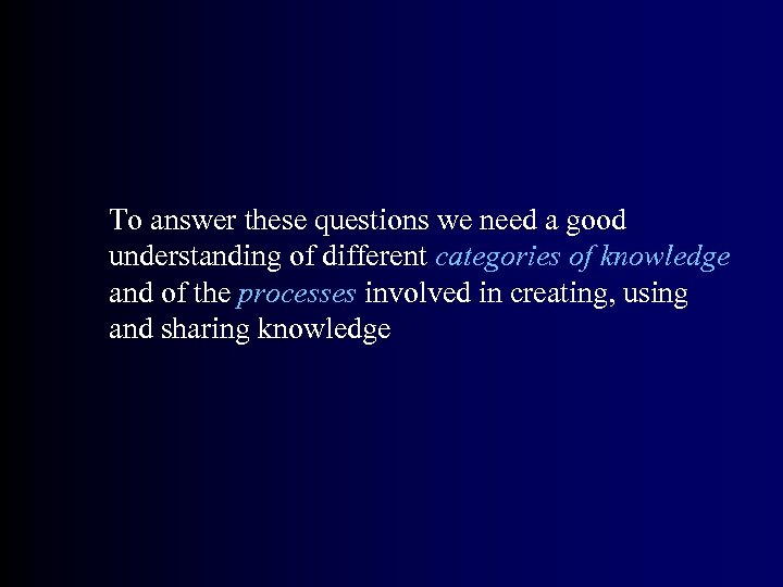 To answer these questions we need a good understanding of different categories of knowledge