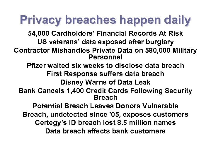 Privacy breaches happen daily 54, 000 Cardholders' Financial Records At Risk US veterans' data