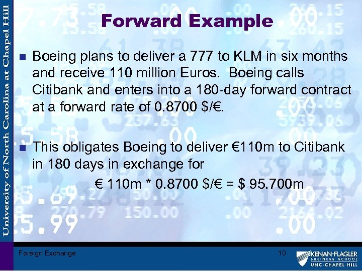 Forward Example n Boeing plans to deliver a 777 to KLM in six months