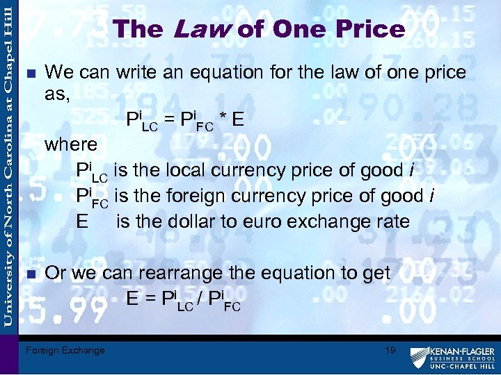 The Law of One Price n We can write an equation for the law
