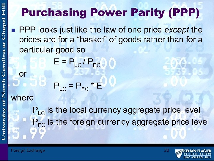 Purchasing Power Parity (PPP) PPP looks just like the law of one price except