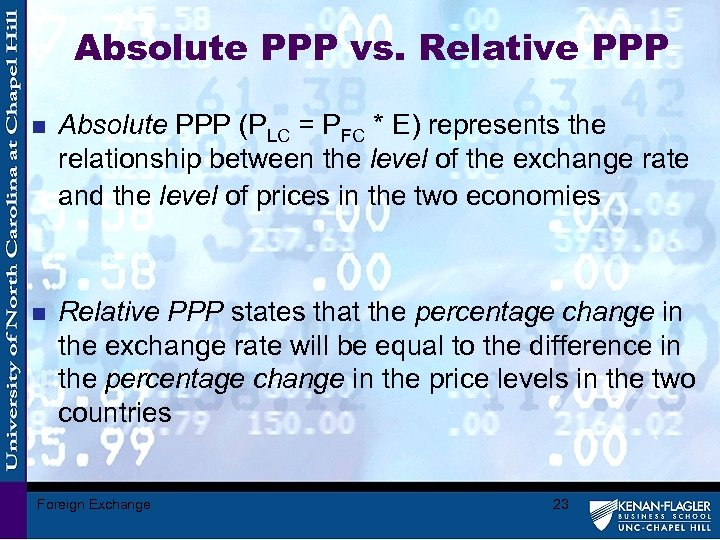 Absolute PPP vs. Relative PPP n Absolute PPP (PLC = PFC * E) represents