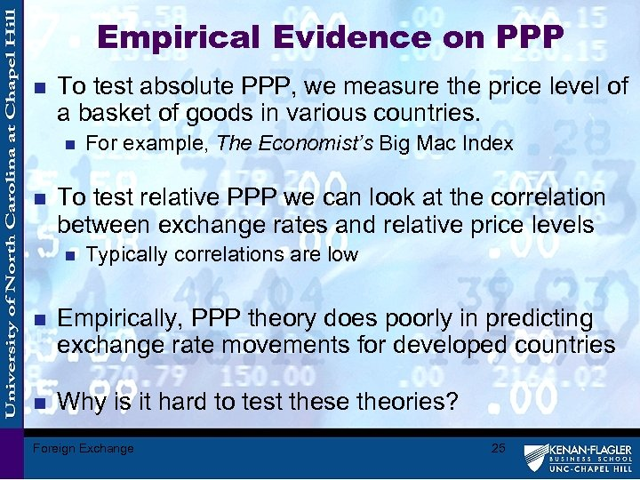 Empirical Evidence on PPP n To test absolute PPP, we measure the price level
