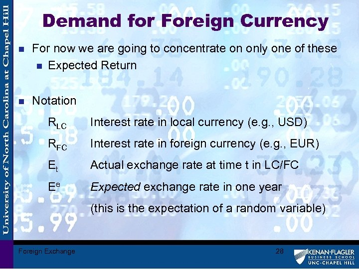Demand for Foreign Currency n For now we are going to concentrate on only