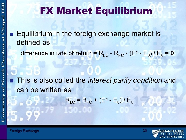 FX Market Equilibrium n Equilibrium in the foreign exchange market is defined as difference