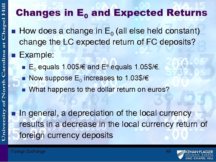 Changes in E 0 and Expected Returns n How does a change in E