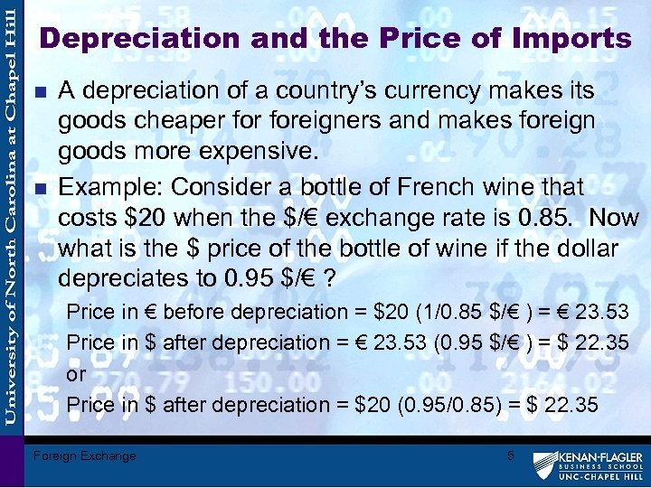 Depreciation and the Price of Imports n n A depreciation of a country's currency
