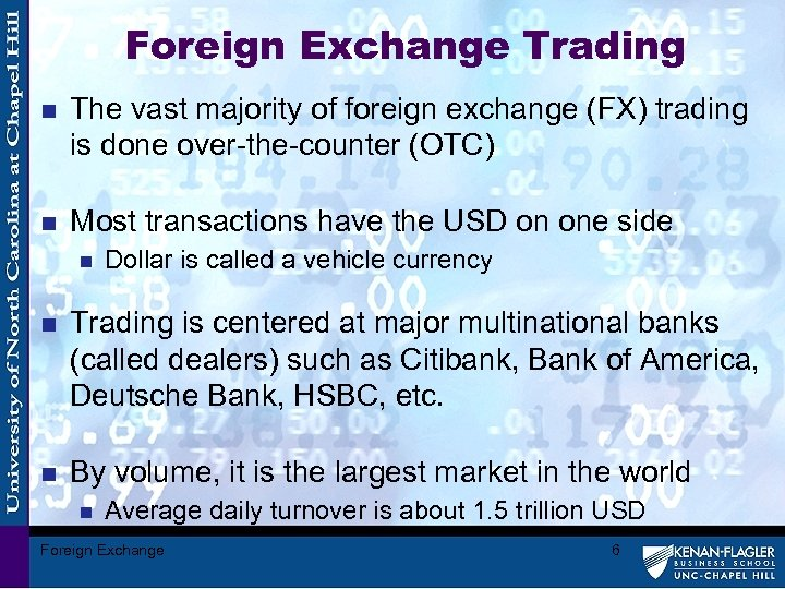 Foreign Exchange Trading n The vast majority of foreign exchange (FX) trading is done