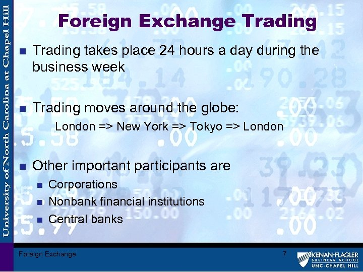 Foreign Exchange Trading n Trading takes place 24 hours a day during the business
