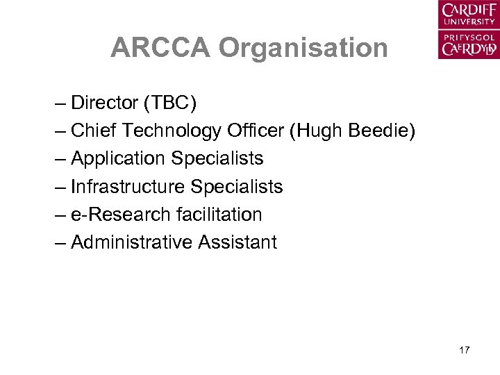 ARCCA Organisation – Director (TBC) – Chief Technology Officer (Hugh Beedie) – Application Specialists