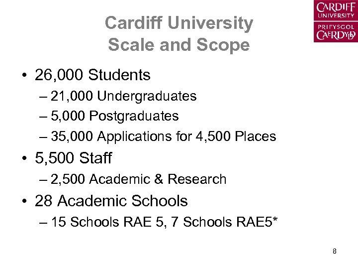 Cardiff University Scale and Scope • 26, 000 Students – 21, 000 Undergraduates –