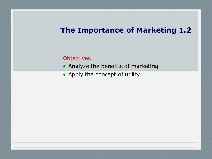 The Importance of Marketing 1. 2 Objectives · Analyze the benefits of marketing ·