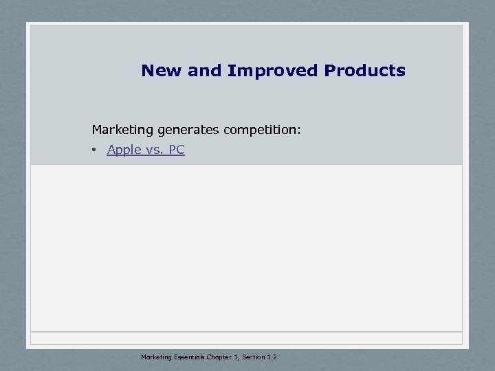 New and Improved Products Marketing generates competition: • Apple vs. PC Marketing Essentials Chapter