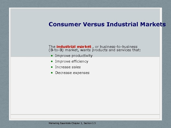 Consumer Versus Industrial Markets The industrial market , or business-to-business (B-to-B) market, wants products
