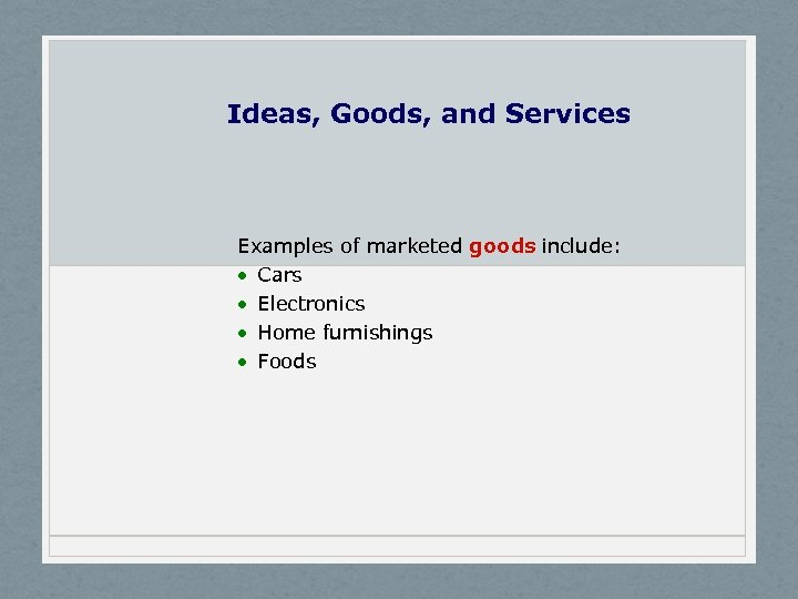 Ideas, Goods, and Services Examples of marketed goods include: · Cars · Electronics ·