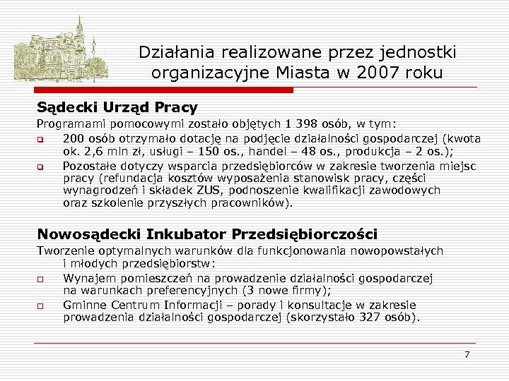 Działania realizowane przez jednostki organizacyjne Miasta w 2007 roku Sądecki Urząd Pracy Programami pomocowymi