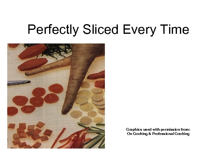 Perfectly Sliced Every Time Graphics used with permission from: On Cooking & Professional Cooking