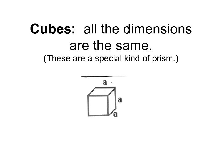 Cubes: all the dimensions are the same. (These are a special kind of prism.
