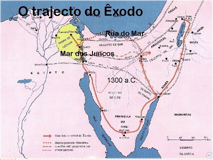 O trajecto do Êxodo Rua do Mar dos Juncos 1300 a. C.