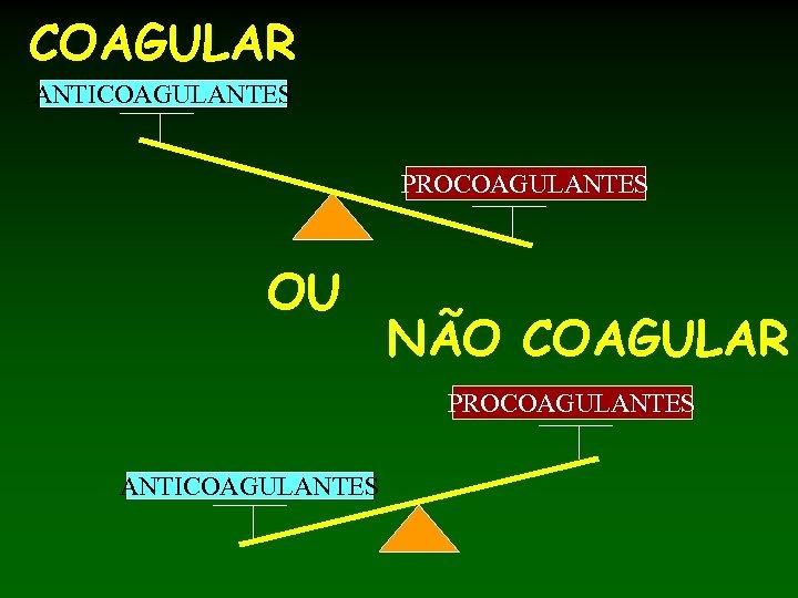 COAGULAR ANTICOAGULANTES PROCOAGULANTES OU NÃO COAGULAR PROCOAGULANTES ANTICOAGULANTES