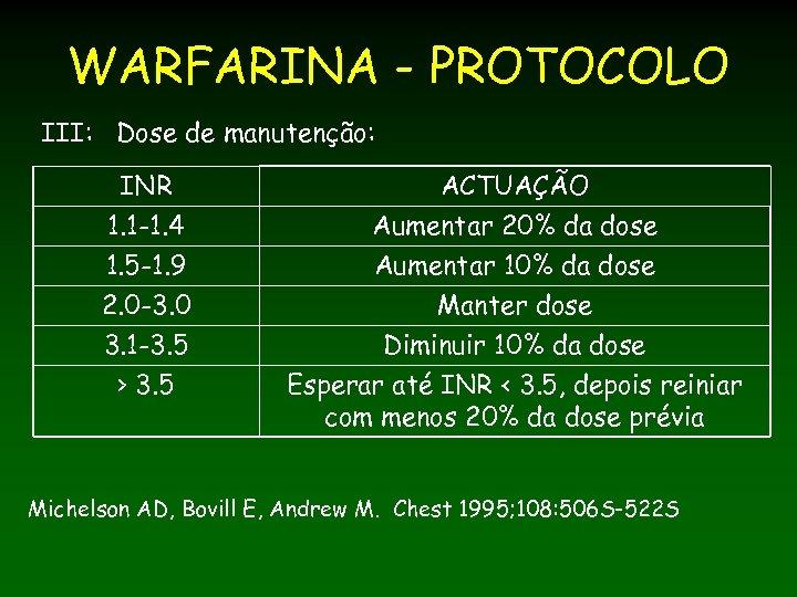 WARFARINA - PROTOCOLO III: Dose de manutenção: INR 1. 1 -1. 4 1. 5