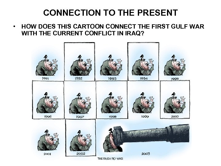 CONNECTION TO THE PRESENT • HOW DOES THIS CARTOON CONNECT THE FIRST GULF WAR