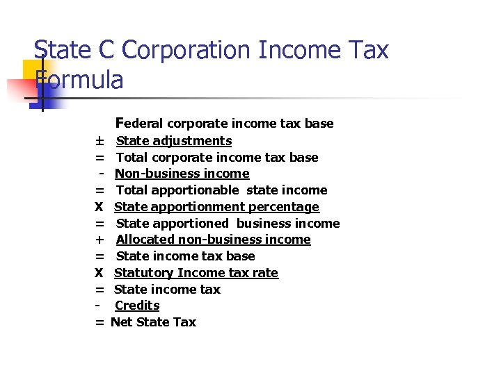 State C Corporation Income Tax Formula Federal corporate income tax base ± = =