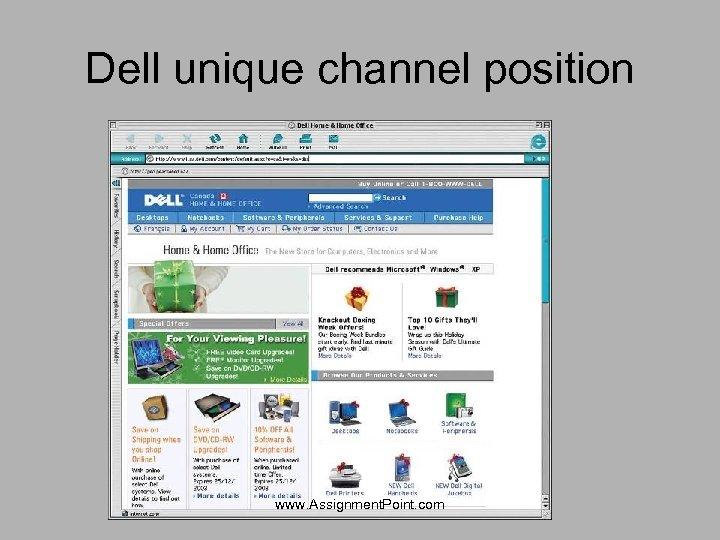 Dell unique channel position www. Assignment. Point. com
