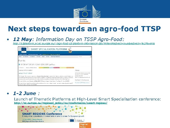 Next steps towards an agro-food TTSP • 12 May: Information Day on TSSP Agro-Food:
