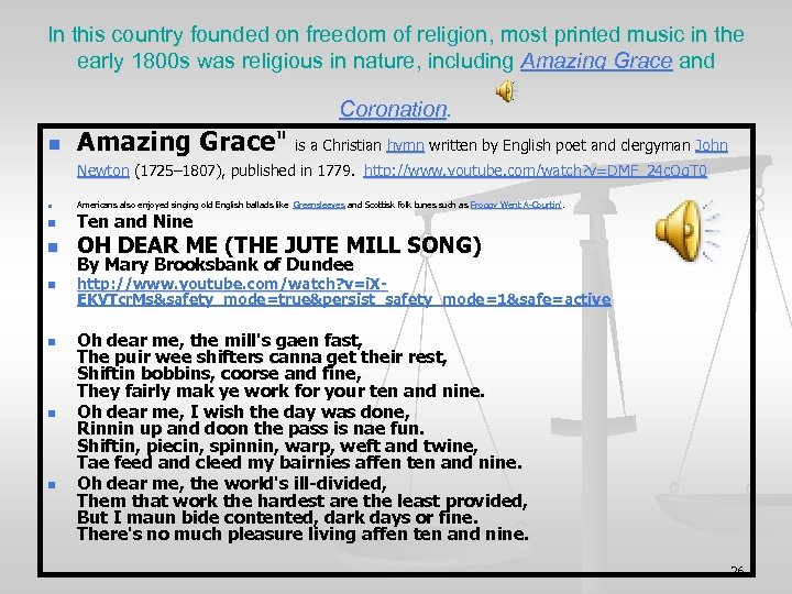 In this country founded on freedom of religion, most printed music in the early