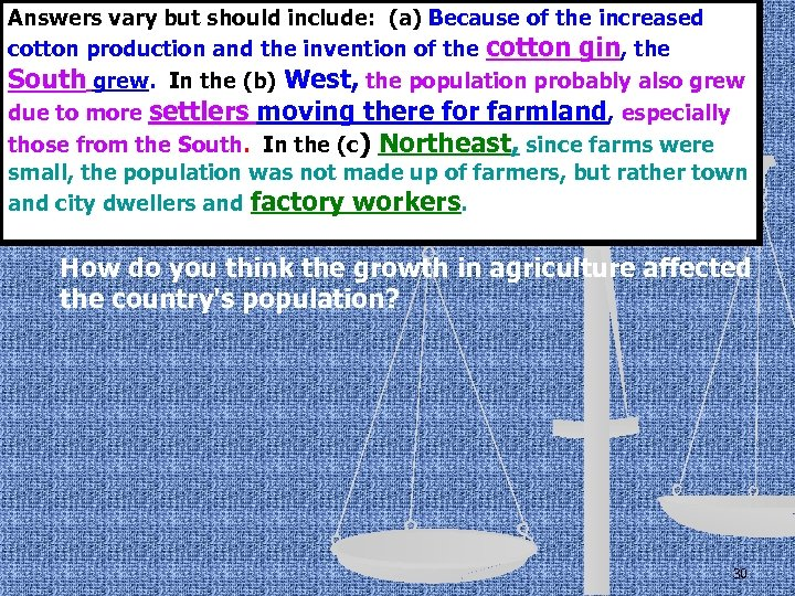 Answers vary but should include: (a) Because of the increased cotton production and the