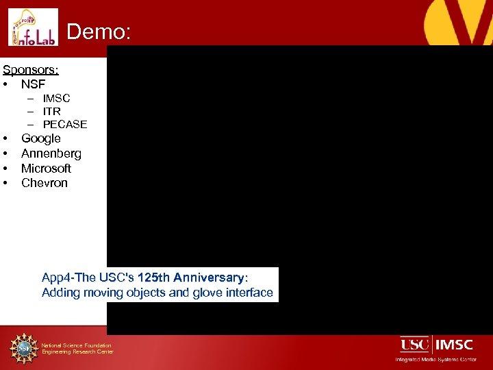 Demo: Sponsors: • NSF – IMSC – ITR – PECASE • • Google Annenberg