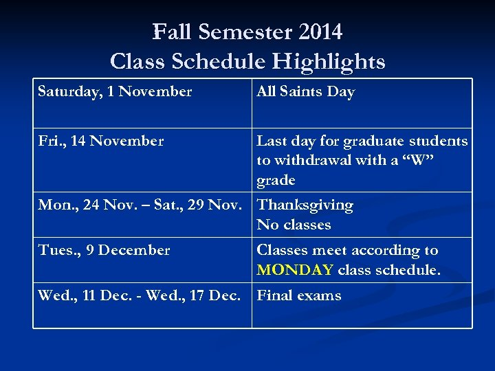 Fall Semester 2014 Class Schedule Highlights Saturday, 1 November All Saints Day Fri. ,
