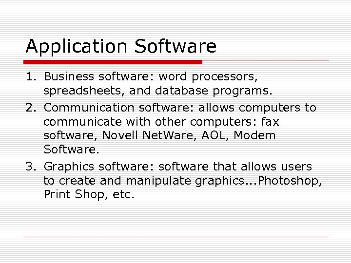 Application Software 1. Business software: word processors, spreadsheets, and database programs. 2. Communication software: