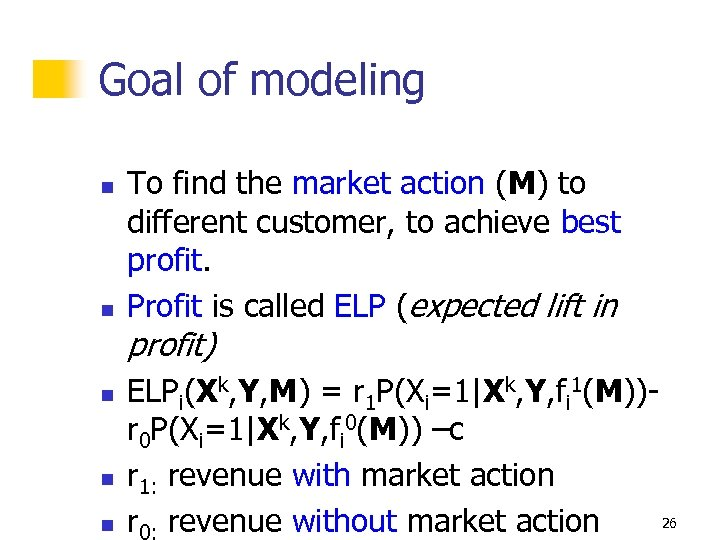 Goal of modeling n n To find the market action (M) to different customer,