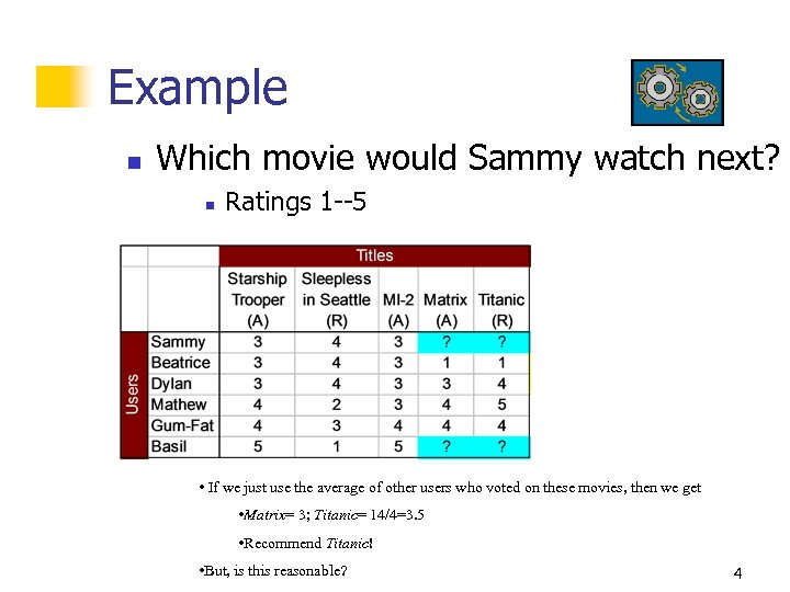 Example n Which movie would Sammy watch next? n Ratings 1 --5 • If