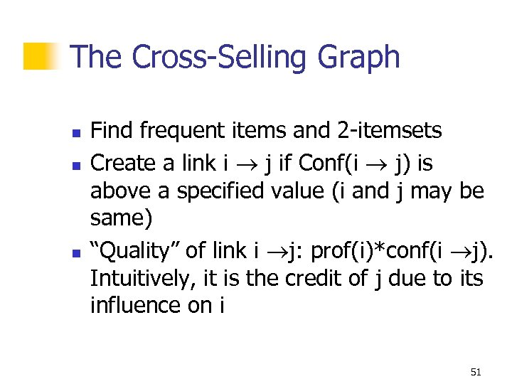 The Cross-Selling Graph n n n Find frequent items and 2 -itemsets Create a
