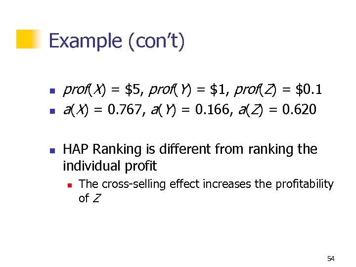 Example (con't) n n n prof(X) = $5, prof(Y) = $1, prof(Z) = $0.