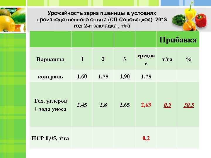 Урожайность зерна пшеницы в условиях производственного опыта (СП Соловецкое), 2013 год 2 -я закладка